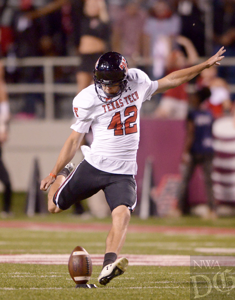 NWA Democrat-Gazette/BEN GOFF @NWABENGOFF<br /> Taylor Symmank, Texas Tech place kicker, makes a point after on Saturday Sept. 19, 2015 during the fourth quarter of the game in Razorback Stadium in Fayetteville.