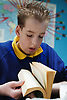Pupil with brain damage learning to read,