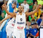 "France`s Tony Parker celebrate during European basketball championship ""Eurobasket 2013""  final game between France and Lithuania in Stozice Arena in Ljubljana, Slovenia, on September 22. 2013. (credit: Pedja Milosavljevic  / thepedja@gmail.com / +381641260959)"
