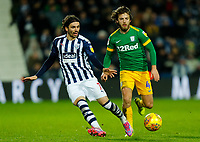 25th February 2020; The Hawthorns, West Bromwich, West Midlands, England; English Championship Football, West Bromwich Albion versus Preston North End; Filip Krovinovic of West Bromwich Albion passes under pressure from Ben Pearson of Preston North End