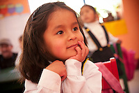A young Peruvian girl attends kindergarten, part of the initial level of the schooling in Peru. The Peruvian school system of public education provides three distinct levels of instruction: Initial (3-5 yrs old), Primary (for six years) and Secondary (for five years). The children in Peru are happy to be enrolled in school and eager to learn. Their warm nature and positive attitude drives teachers to want to educate and makes travelers feel welcomed when they visit Peruvian schools.