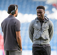 Lincoln City's Bruno Andrade, left, and Lincoln City's Jordan Adebayo-Smith prior to the game<br /> <br /> Photographer Chris Vaughan/CameraSport<br /> <br /> The Carabao Cup First Round - Huddersfield Town v Lincoln City - Tuesday 13th August 2019 - John Smith's Stadium - Huddersfield<br />  <br /> World Copyright © 2019 CameraSport. All rights reserved. 43 Linden Ave. Countesthorpe. Leicester. England. LE8 5PG - Tel: +44 (0) 116 277 4147 - admin@camerasport.com - www.camerasport.com