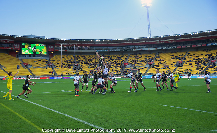 James Blackwell takes lineout ball during the Super Rugby match between the Hurricanes and Rebels at Westpac Stadium in Wellington, New Zealand on Saturday, 4 May 2019. Photo: Dave Lintott / lintottphoto.co.nz