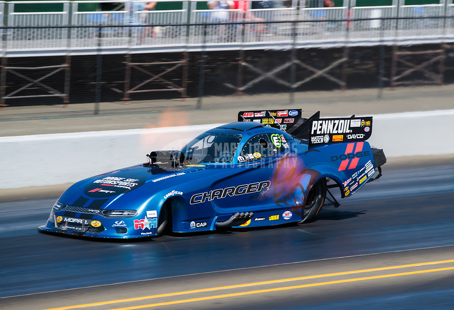 Jul 28, 2019; Sonoma, CA, USA; NHRA funny car driver Matt Hagan during the Sonoma Nationals at Sonoma Raceway. Mandatory Credit: Mark J. Rebilas-USA TODAY Sports