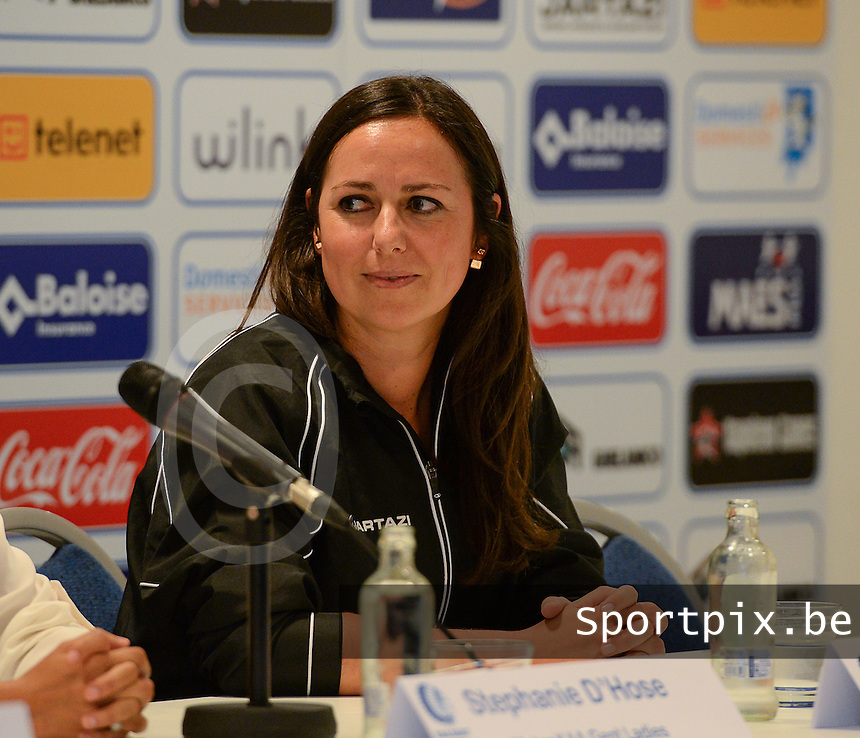 20150821 - GENT, BELGIUM: Gent's Mental Coach Eva Maenhout pictured during a press conference about the start of the new Super League season of the women's team KAA Gent Ladies , Friday 21 August 2015 , in Gent. PHOTO DAVID CATRY