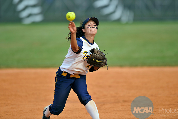19 MAY 2012: Mya Romero of UC San Diego throws to first during the Division II Women's Softball Championship held at Knights Field on the campus of the Bellarman University in Louisville, KY. Valdosta State defeated UC San Diego 4-1 to claim the national title. Stephen Nowland/NCAA Photos
