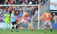 Blackpool's Ben Heneghan heads clear<br /> <br /> Photographer Kevin Barnes/CameraSport<br /> <br /> The EFL Sky Bet League One - Blackpool v Southend United - Saturday 9th March 2019 - Bloomfield Road - Blackpool<br /> <br /> World Copyright © 2019 CameraSport. All rights reserved. 43 Linden Ave. Countesthorpe. Leicester. England. LE8 5PG - Tel: +44 (0) 116 277 4147 - admin@camerasport.com - www.camerasport.com
