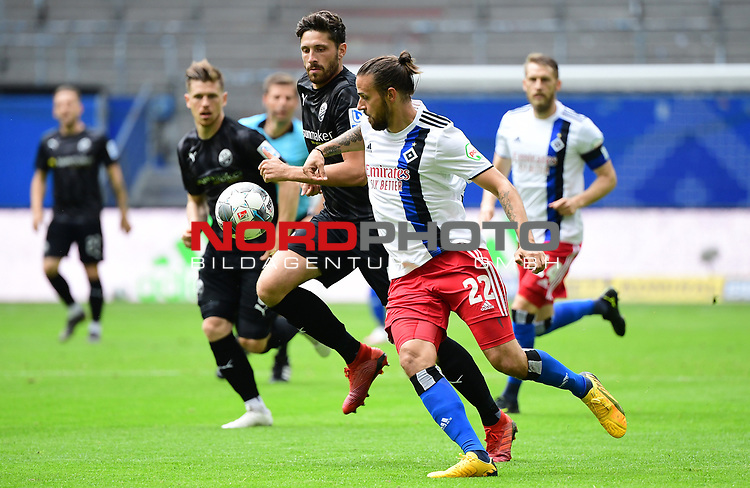 v.l. Tim Kister, Martin Harnik (HSV)<br /> Hamburg, 28.06.2020, Fussball 2. Bundesliga, Hamburger SV - SV Sandhausen<br /> Foto: VWitters/Witters/Pool//via nordphoto<br />  DFL REGULATIONS PROHIBIT ANY USE OF PHOTOGRAPHS AS IMAGE SEQUENCES AND OR QUASI VIDEO<br /> EDITORIAL USE ONLY<br /> NATIONAL AND INTERNATIONAL NEWS AGENCIES OUT