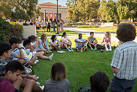 OxyEngage orientation - students meet their trip leaders and each other in a series of ice breakers.<br /> Incoming Occidental College first-year students explore Los Angeles as part of OxyEngage, Aug. 19-21, 2019.<br /> OxyEngage is a pre-orientation program that introduces incoming students to Los Angeles. Over two days, upperclassmen lead trips to experience culture, film, food, nature, social justice, the urban environment, and more.<br /> (Photo by Marc Campos, Occidental College Photographer)