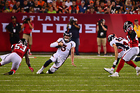 Canton, Ohio - August 1, 2019: Denver Broncos quarterback Drew Lock #3 runs the ball during a pre-season game against the Atlanta Falcons at the Tom Benson Hall of Fame stadium in Canton, Ohio August 1, 2019. This game marks start of the 100th season of the NFL. (Photo by Don Baxter/Media Images International)