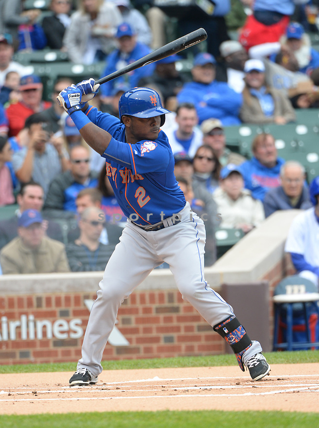 New York Mets Dilson Herrera (2) during a game against the Chicago Cubs on May 14, 2015 at Wrigley Field in Chicago, IL. The Cubs beat the Mets 6-5.