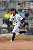 Third baseman Jay Jabs (7) of the Columbia Fireflies plays defense in a game against the Lexington Legends on Saturday, April 22, 2017, at Spirit Communications Park in Columbia, South Carolina. Lexington won, 4-0. (Tom Priddy/Four Seam Images)