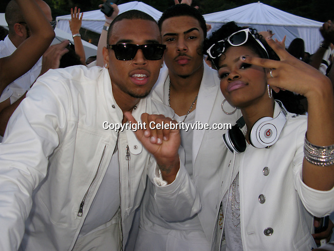 **EXCLUSIVE**.Chris Brown, Quincy Brown and Tania Taylor..Sean P. Diddy Combs 4th of July White Party..Private Residence..Beverly Hills, CA, USA..Saturday, July 04, 2009..Photo By Celebrityvibe.com.To license this image please call (212) 410 5354; or Email: celebrityvibe@gmail.com ; .website: www.celebrityvibe.com.