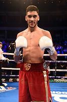 Hamza Sheeraz (red shorts) defeats Rod Douglas Jnr during a Boxing Show at the Royal Albert Hall on 8th March 2019