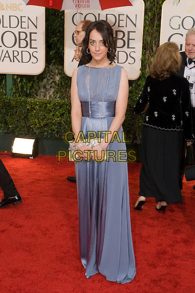 JANE ADAMS.Arrivals at the 67th Golden Globe Awards held Beverly Hilton, Beverly Hills, California, USA..January 17th, 2010.globes full length blue dress maxi sleeveless sheer silk satin clutch bag sash .CAP/AW/HFPA.Supplied by Anita Weber/Capital Pictures