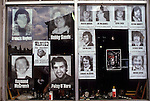 Hunger strikers photographs in a shop window 1980s Belfast Northern Ireland