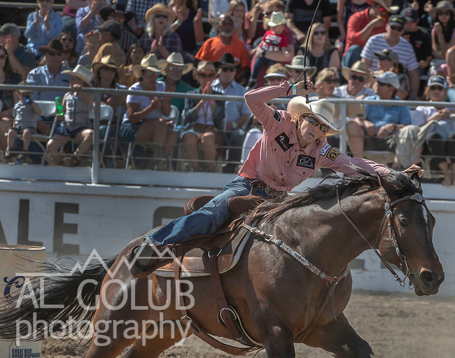 Barrel Racer Cheyenne Wimberly from Stepenville, Texas with a time of 17.40 seconds at the 68th annual Oakdale Saddle Club Rodeo on Sunday, April 14, 2019.  (Al Golub/Record Photo)