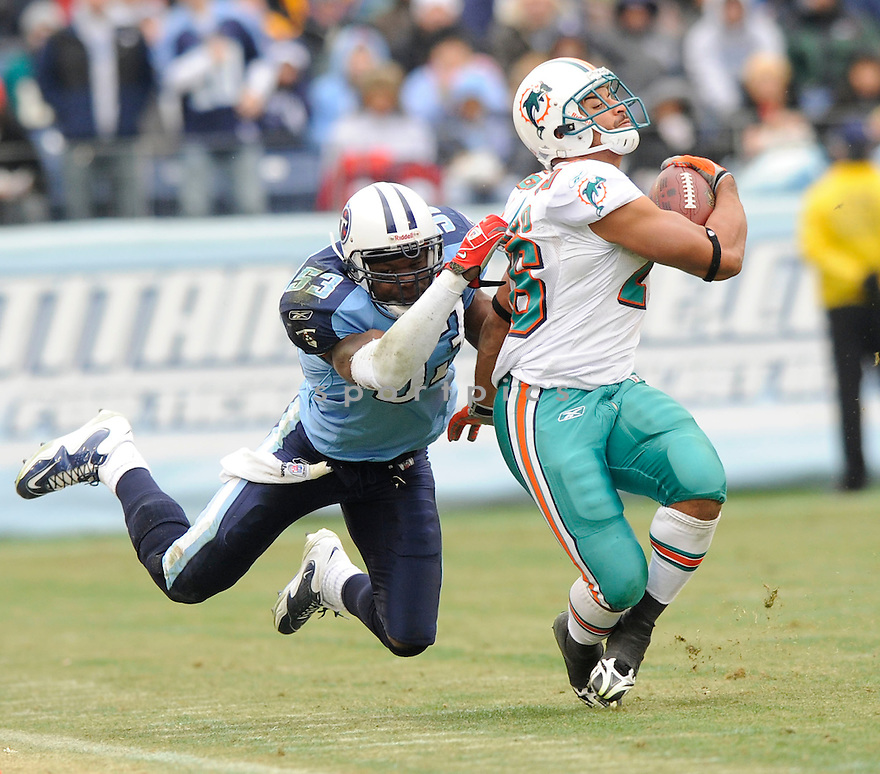 KEITH BULLUCK, of the Tennessee Titans, in action during the Titans game against the Miami Dolphins on December 20, 2009 in Nashville, TN. Titans won 27-24 in overtime.