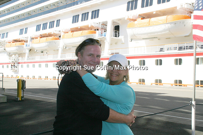 Guiding Light's Kim Zimmer and husband AC Weary in port at Saint John New Brunswick getting ready to ride bikes - Day 2 - August 1, 2010 - So Long Springfield at Sea - A day in port in Saint John, New Brunswick, Canada from the Carnival's Glory (Photos by Sue Coflin/Max Photos)