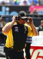 Sep 5, 2016; Clermont, IN, USA; NHRA official starter Mike Gittings during the US Nationals at Lucas Oil Raceway. Mandatory Credit: Mark J. Rebilas-USA TODAY Sports