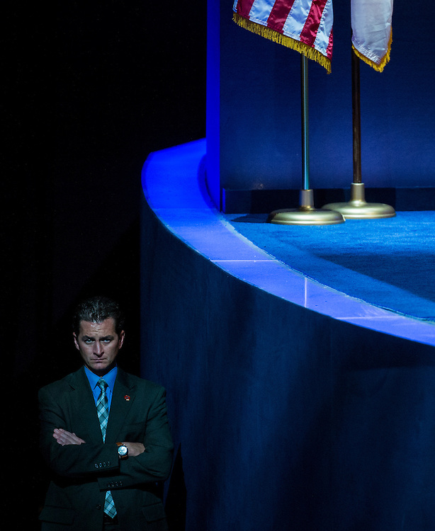UNITED STATES - SEPTEMBER 6: A Secret Service agent guards the stage before President Barack Obama's acceptance speech at the Democratic National Convention at Time Warner Cable Arena in Charlotte, N.C., on Thursday, Sept. 6, 2012. (Photo By Bill Clark/CQ Roll Call)