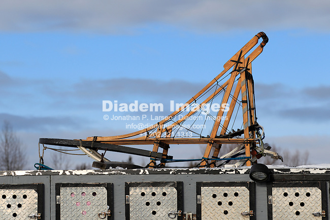 DULUTH, MN - JANUARY 30:  A dog sled fastened atop a truck in the starting area prior to the John Beargrease sled dog marathon January 30, 2011 in Duluth, Minnesota.  (Photograph by Jonathan P. Larsen)