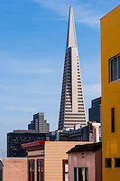 United States, California, San Francisco. The Transamerica Pyramid seen from Powell Street.