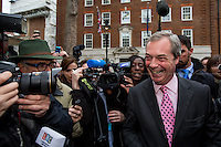 30/03/2015. Nigel Farage, Leader of the United Kingdom Independence Party (UKIP), speaks to members of the media outside the Europe House (HQ of the European Union in London) after unveiling UKIP's electoral poster reporting the party's key pledges for 7th of May British General Election.<br /> <br /> &quot;Stickers, Posters, Banners, Russell Brand, Occupy Statues, Class War&hellip; An Invisible Electoral Campaign&quot;.<br /> <br /> For more pictures and info about this event please click here: http://bit.ly/1H71ECg