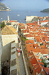 Old Town Wall and Adriatic Sea view of Dubrovnik, Croatia