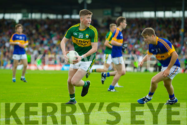 Ronan Buckley, Kerry in Action against Bryan Sweeney Tipperary in the Munster Minor Football Final at Fitzgerald Stadium.