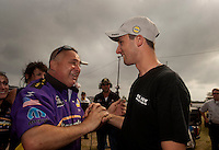 May 1, 2011; Baytown, TX, USA: NHRA pro stock driver Vincent Nobile (right) celebrates with father John Nobile after winning the Spring Nationals at Royal Purple Raceway. Mandatory Credit: Mark J. Rebilas-