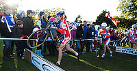 03 NOV 2012 - IPSWICH, GBR - Helen Wyman (GBR) (left) of Great Britain prepares to clear a hurdle during the Elite Women's European Cyclo-Cross Championships in Chantry Park, Ipswich, Suffolk, Great Britain (PHOTO (C) 2012 NIGEL FARROW)