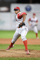 Williamsport Crosscutters pitcher Edubray Ramos (38) delivers a pitch during a game against the Batavia Muckdogs on August 25, 2014 at Dwyer Stadium in Batavia, New York.  Batavia defeated Williamsport 3-0.  (Mike Janes/Four Seam Images)