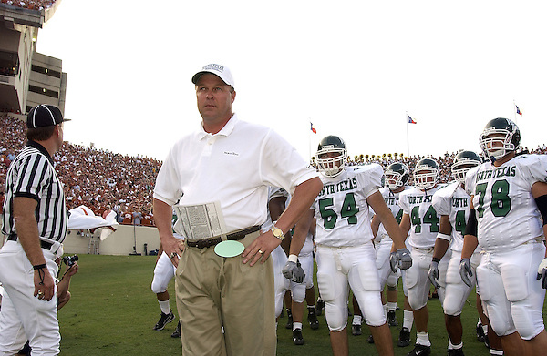 AUSTIN, TX - AUGUST 31: Darrell Dickey head coach - North Texas Mean Green Football vs University of Texas Longhorns at Darrell K Royal-Texas Memorial Stadium in Austin on August 31, 2002 in No. Photo by Rick