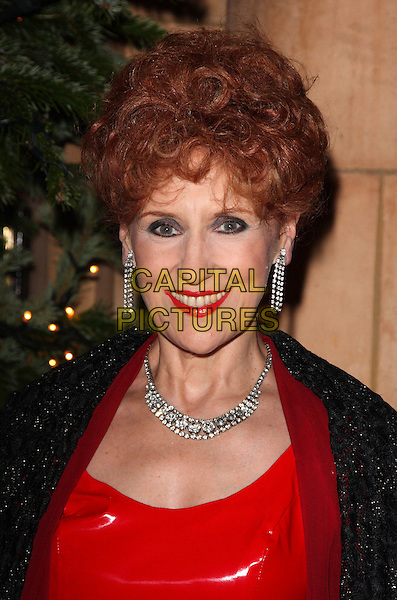 ANITA DOBSON.Christopher Biggins' 60th Birthday Party at the Landmark Hotel, Marylebone, London, England..December 15th, 2008.headshot portrait red lipstick necklace earrings dangling diamonds .CAP/ROS.©Steve Ross/Capital Pictures.