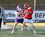 UAlbany Men's Lacrosse defeats Stony Brook on March 31 at Casey Stadium.  Tom Haun (#22).