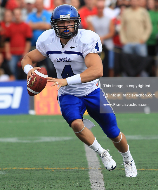 Universite de Montreal Carabins' Marc-Olivier Brouillette in CIS football action against the Rouge et Or at the universite Laval stadium in Quebec City, September 7, 2008. Laval won 17-6 before a crowd of 15,275.
