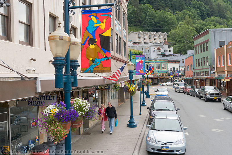 Summer streets in downtown Juneau, Alaska.