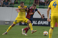 Igor Stasevich (L) of FC BATE Borsiov and Istvan Kovacs (R) of Vidi FC fight for the ball during the UEFA Europa League match between Hungary's Videoton FC and Belarus' FC BATE Borisov at the Groupama Arena stadium in Budapest, Hungary on Sept. 20, 2018. ATTILA VOLGYI