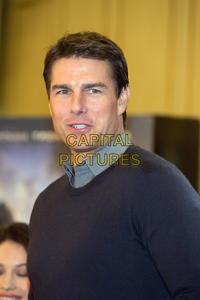 Tom Cruise.'Oblivion' photocall at the Ritz-Carlton Hotel, Moscow, Russia..1st April 2013.headshot portrait black grey gray sweater jumper top collar shirt mouth open.CAP/PER/PK.© PK/Persona/CapitalPictures