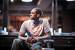 NBA's player and Red Bull athlete Rajon Rondo poses for photographs at a barber shop as part of his Asia Tour on August 27, 2012 in Manila, Philippines. Photo by Victor Fraile / The Power of Sport Images