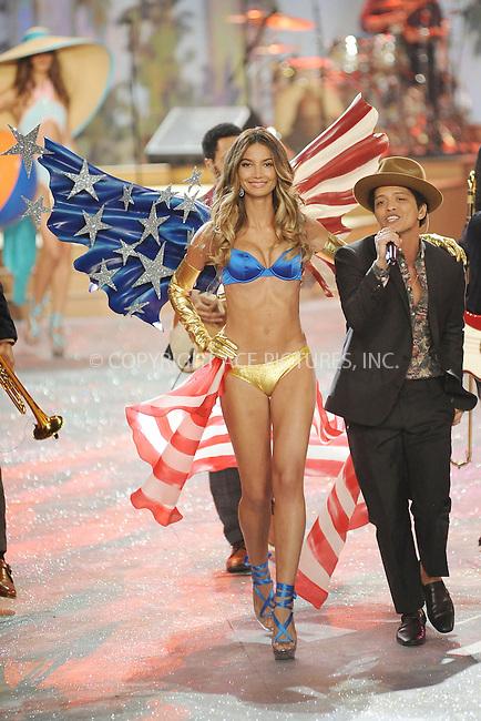 WWW.ACEPIXS.COM . . . . . .November 7, 2012...New York City.... Lily Aldridge and Bruno Mars walk the runway during the 2012 Victoria's Secret Fashion Show at the Lexington Avenue Armory on November 7, 2012 in New York City ....Please byline: KRISTIN CALLAHAN - ACEPIXS.COM.. . . . . . ..Ace Pictures, Inc: ..tel: (212) 243 8787 or (646) 769 0430..e-mail: info@acepixs.com..web: http://www.acepixs.com .
