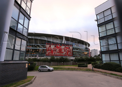 28.09.2016. Emirates Stadium, London, England. UEFA Champions League Football. Arsenal versus FC Basel. A general street view of The Emirates Stadium