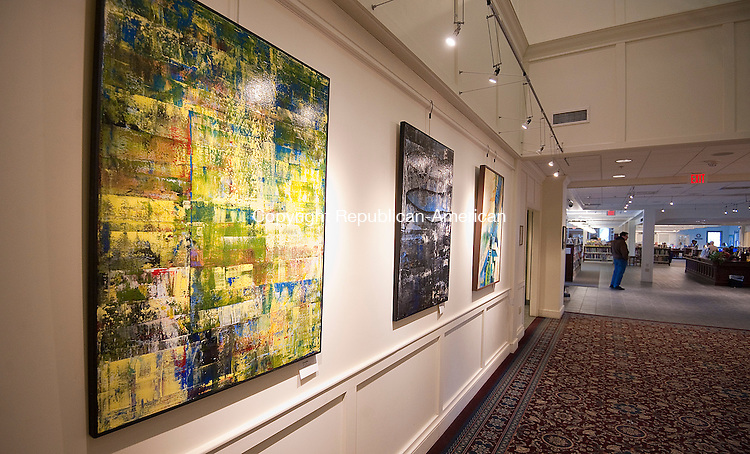 """SOUTHBURY, CT--- -011316JS02--The abstract paintings of artist Michele Tragakiss are on display at the Southbury Public Library. The show """"Breaking Out-The Next Chapter"""" will run through January 27Jim Shannon Republican-American"""