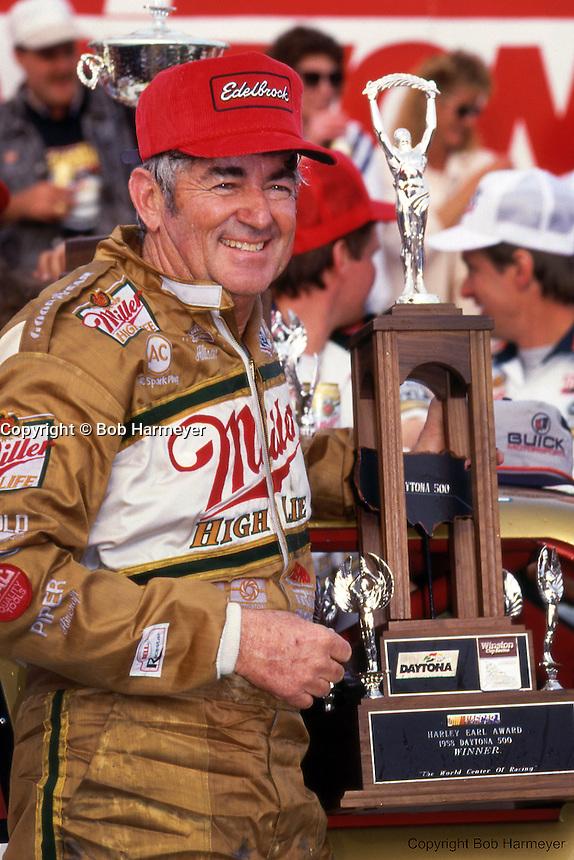 Bobby Allison in Victory Lane after winning the 1988 Daytona 500 NASCAR race.