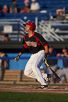 Batavia Muckdogs catcher Roy Morales (34) at bat aduring a game against the State College Spikes August 22, 2015 at Dwyer Stadium in Batavia, New York.  State College defeated Batavia 5-3.  (Mike Janes/Four Seam Images)