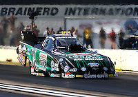 Aug 15, 2014; Brainerd, MN, USA; NHRA funny car driver John Force during qualifying for the Lucas Oil Nationals at Brainerd International Raceway. Mandatory Credit: Mark J. Rebilas-USA TODAY Sports
