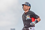 10 March 2015: Miami Marlins right fielder Ichiro Suzuki in Spring Training action against the Washington Nationals at Roger Dean Stadium in Jupiter, Florida. The Marlins edged out the Nationals 2-1 on a walk-off solo home run in the 9th inning of Grapefruit League play. Mandatory Credit: Ed Wolfstein Photo *** RAW (NEF) Image File Available ***