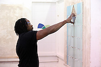 Pictured: Tiling class. Monday 22 September 2014<br /> Re: Cardiff and Vale College.