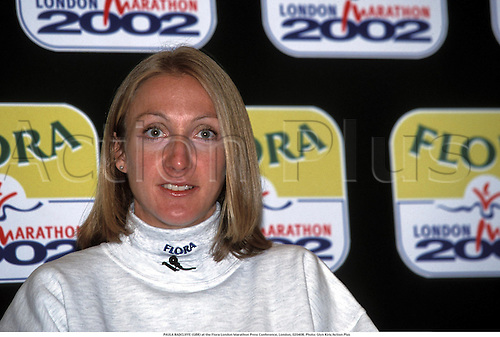 PAULA RADCLIFFE (GBR) at the Flora London Marathon Press Conference, London, 020408. Photo: Glyn Kirk/Action Plus...2002 athletics athlete run runner runners running distance.interview interviews interviewed.marathons...